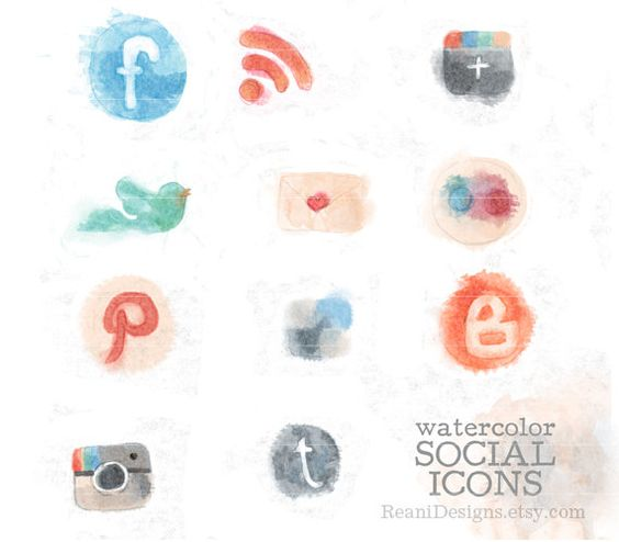 Instagram icon clipart jpg freeuse stock Hand Drawn Watercolor Social Icons Clipart for Blog and Web ... jpg freeuse stock