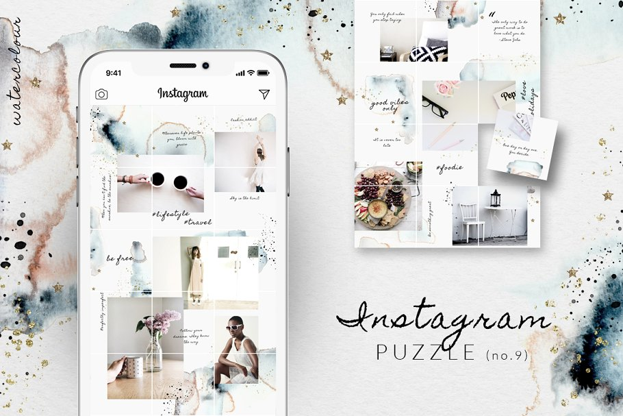 Instagram layout clipart picture download Instagram PUZZLE template-Watercolor ~ Instagram Templates ... picture download