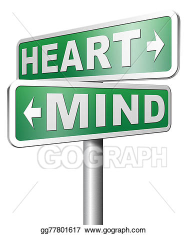 Instinct clipart image black and white download Drawing - Heart over mind. Clipart Drawing gg77801617 - GoGraph image black and white download