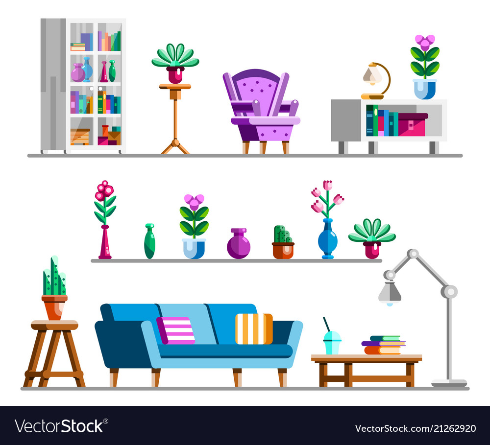 Interior clipart picture black and white library Detailed interior set living room clipart picture black and white library