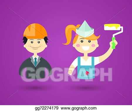 Interior decoration clipart graphic freeuse stock EPS Illustration - Professions- engineer and interior decorator ... graphic freeuse stock