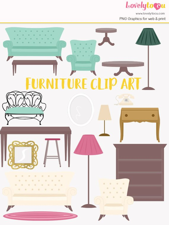 Home decor clipart image black and white download Furniture clipart, house furnishings, interior decorating, decor ... image black and white download