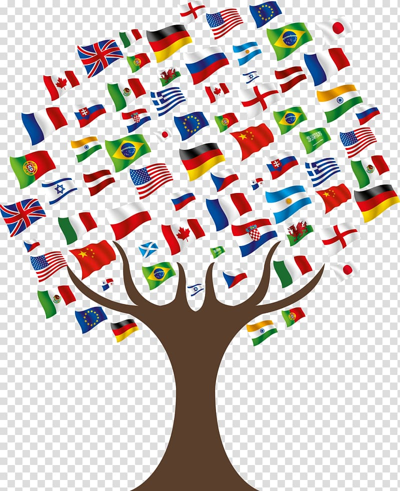 International students clipart transparent stock Tree flags illustration, United States International student ... transparent stock