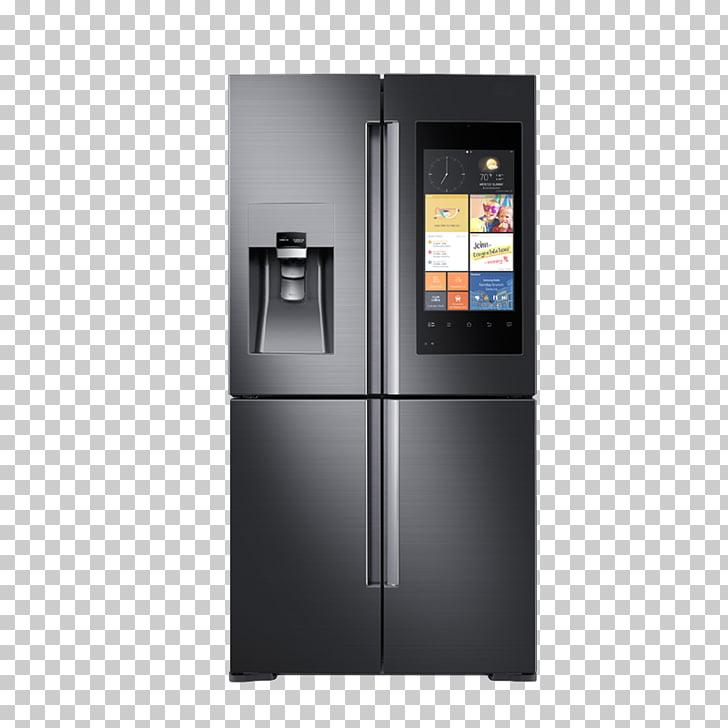 Internet refrigerator clipart banner transparent library Internet refrigerator Samsung Door Home appliance, Black Smart ... banner transparent library