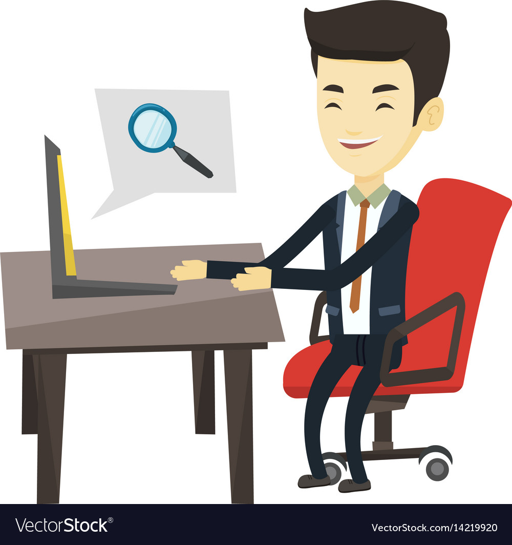 Internet search clipart image free Business man searching information on internet image free