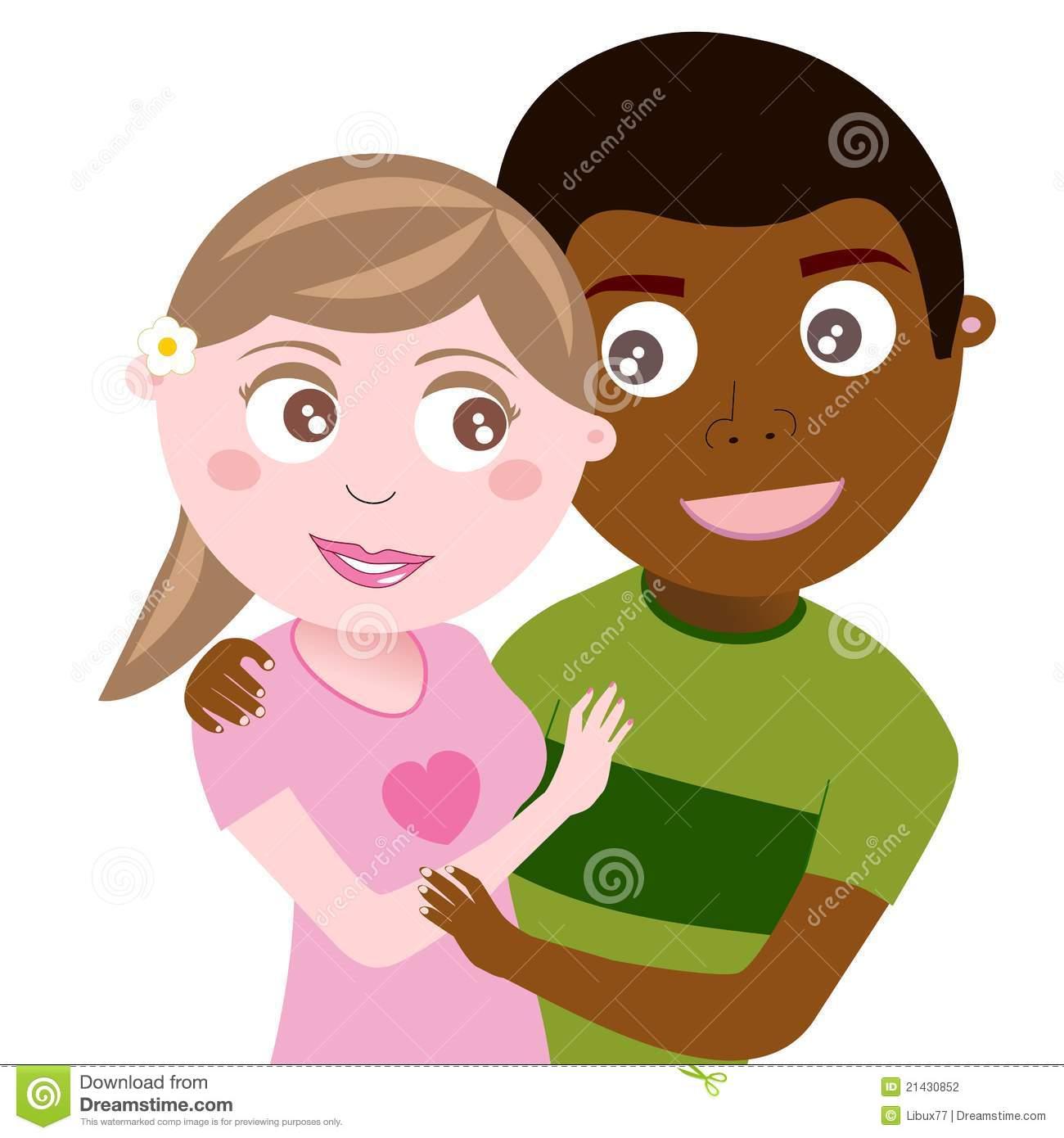Interracial couple clipart vector royalty free library Happy Teenager Interracial Couple Hugging. Illustration Of A C ... vector royalty free library