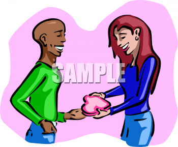 Interracial couple clipart clip art library Clipart Picture of an African American Boy Giving a Box of Candy to ... clip art library