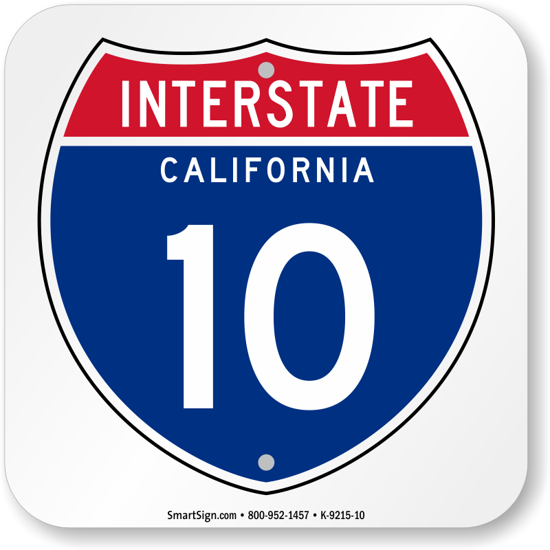 Interstate highway signs clipart graphic transparent download California Interstate 10 Sign - Memorabilia State Highway Signs, SKU ... graphic transparent download