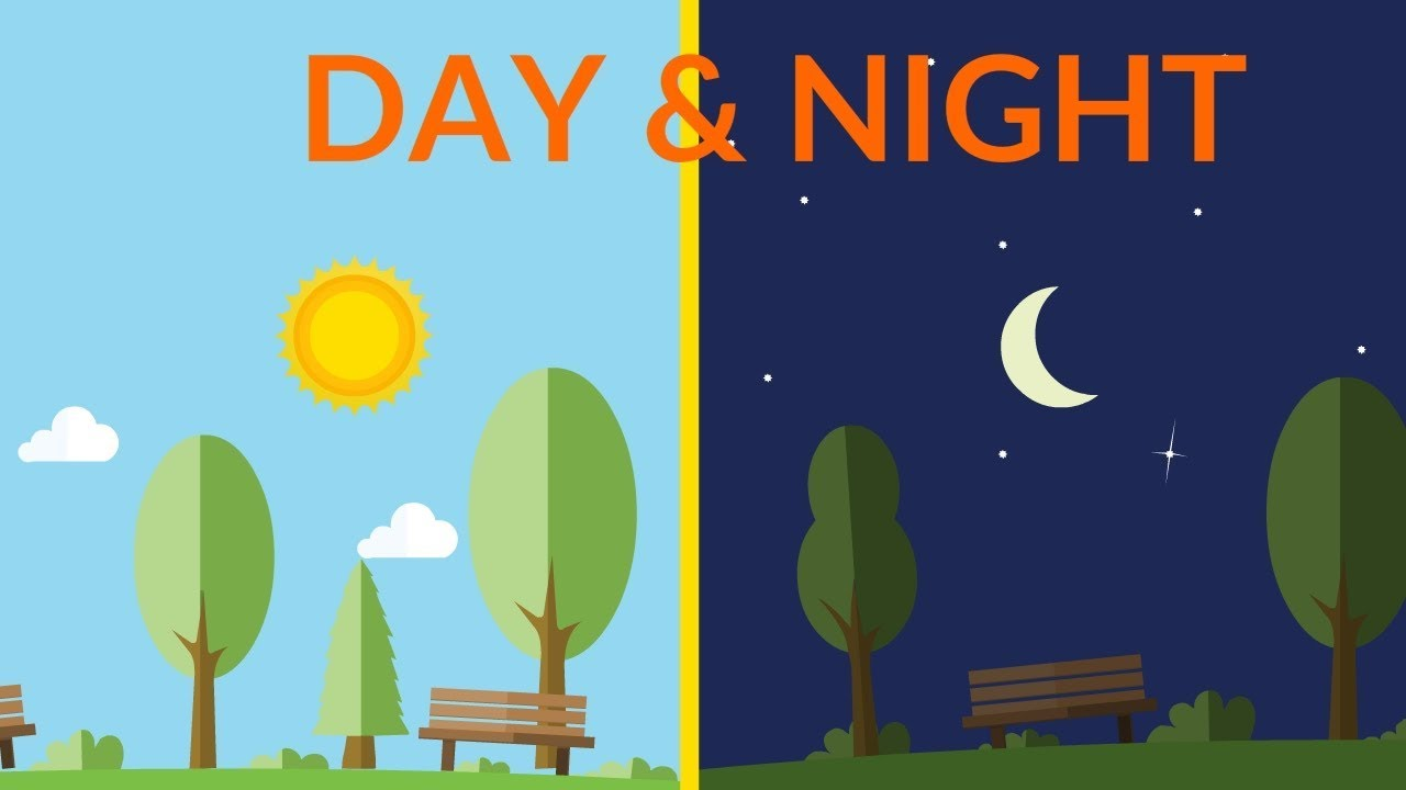 Into the night clipart clip freeuse stock Day and Night || video for kids clip freeuse stock