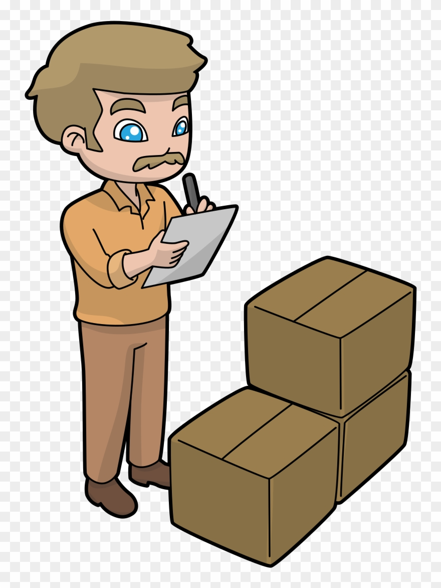 Inventory clipart free jpg royalty free A Shipping Manager Checking Delivery Inventory Cartoon Clipart ... jpg royalty free