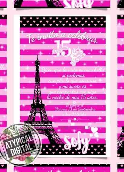 Invitaciones de 15 a+-os clipart clip transparent Tarjetas De Invitacion De 15 A Os Tematica Paris - Souvenirs ... clip transparent