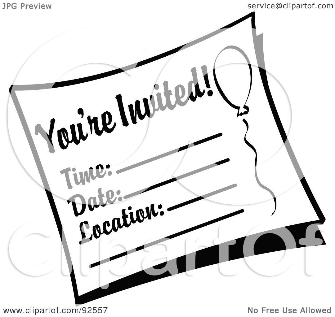 Invitation clipart black and white free stock Invitation clipart black and white 6 » Clipart Portal free stock