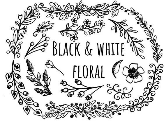 Invitation clipart black and white transparent library Black and White Floral Clipart, hand drawn floral clipart ... transparent library