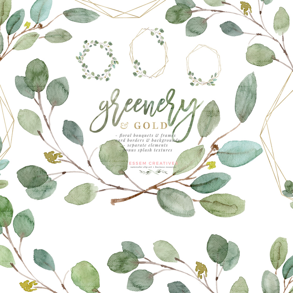 Invitations clipart clip art library stock Greenery and Gold Wedding Invitation Graphics, Eucalyptus Branch Leaves  Clipart for Invitations Logo Stationery Welcome Signs clip art library stock