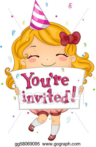 Invitiny clipart graphic free library Stock Illustrations - Birthday invitation. Stock Clipart ... graphic free library