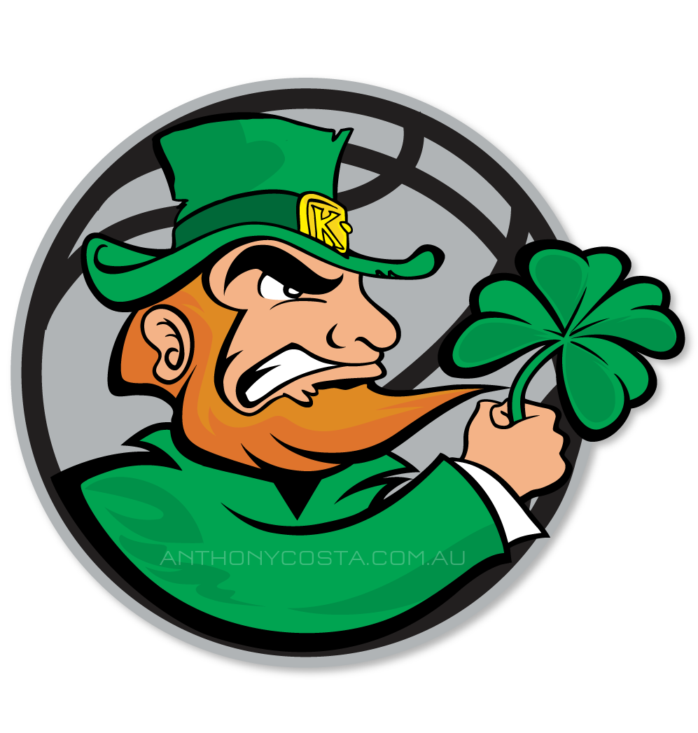 Leperchan with basketball clipart vector download Kellyville Irish | basketball logo design by Anthony Costa vector download