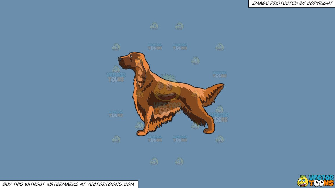 Irish setter clipart image black and white download Clipart: A Pretty Irish Setter on a Solid Shadow Blue 6C8Ead Background image black and white download