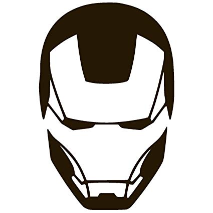Iron man helmet clipart clip black and white stock Iron Man FACE Vinyl Sticker Decal clip black and white stock