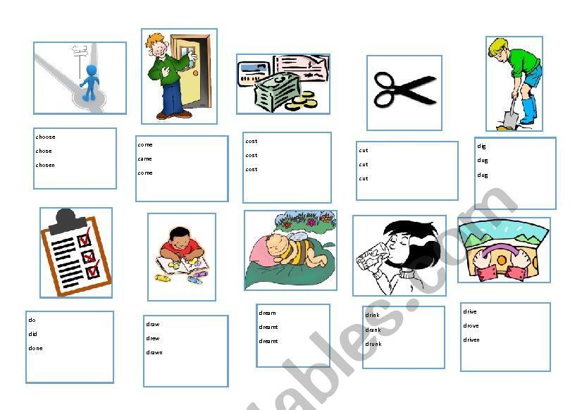 Irregular verbs clipart clip art free Irregular verbs - 11-20 - ESL with clipart - ESL worksheet by ashentara clip art free