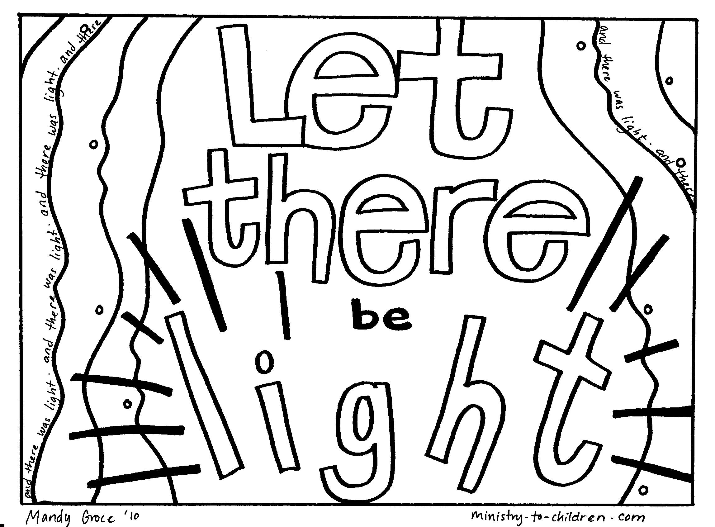 """Is there clipart in pages picture freeuse Creation Coloring Pages """"Let There Be Light"""" – Welcome To Grace ... picture freeuse"""