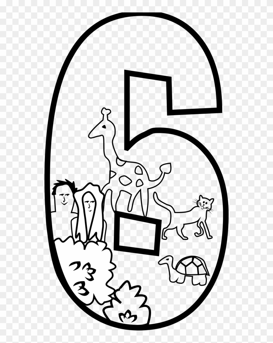 Is there clipart in pages vector download Bonanza Number 6 Coloring Page Clipart Creation Day - Day 6 Of ... vector download