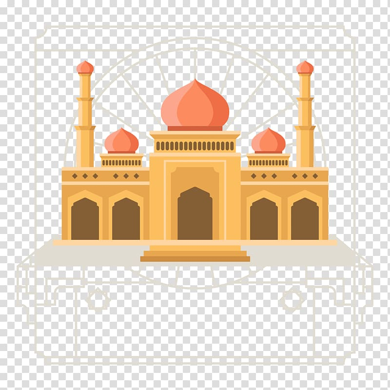 Islamic style clipart vector black and white Brown building , Mosque Islamic architecture Flat design, Islamic ... vector black and white