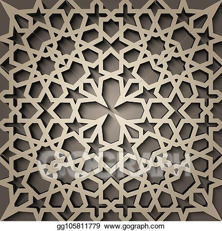Islamic style clipart jpg library stock Vector Art - Background with 3d seamless pattern in islamic style ... jpg library stock