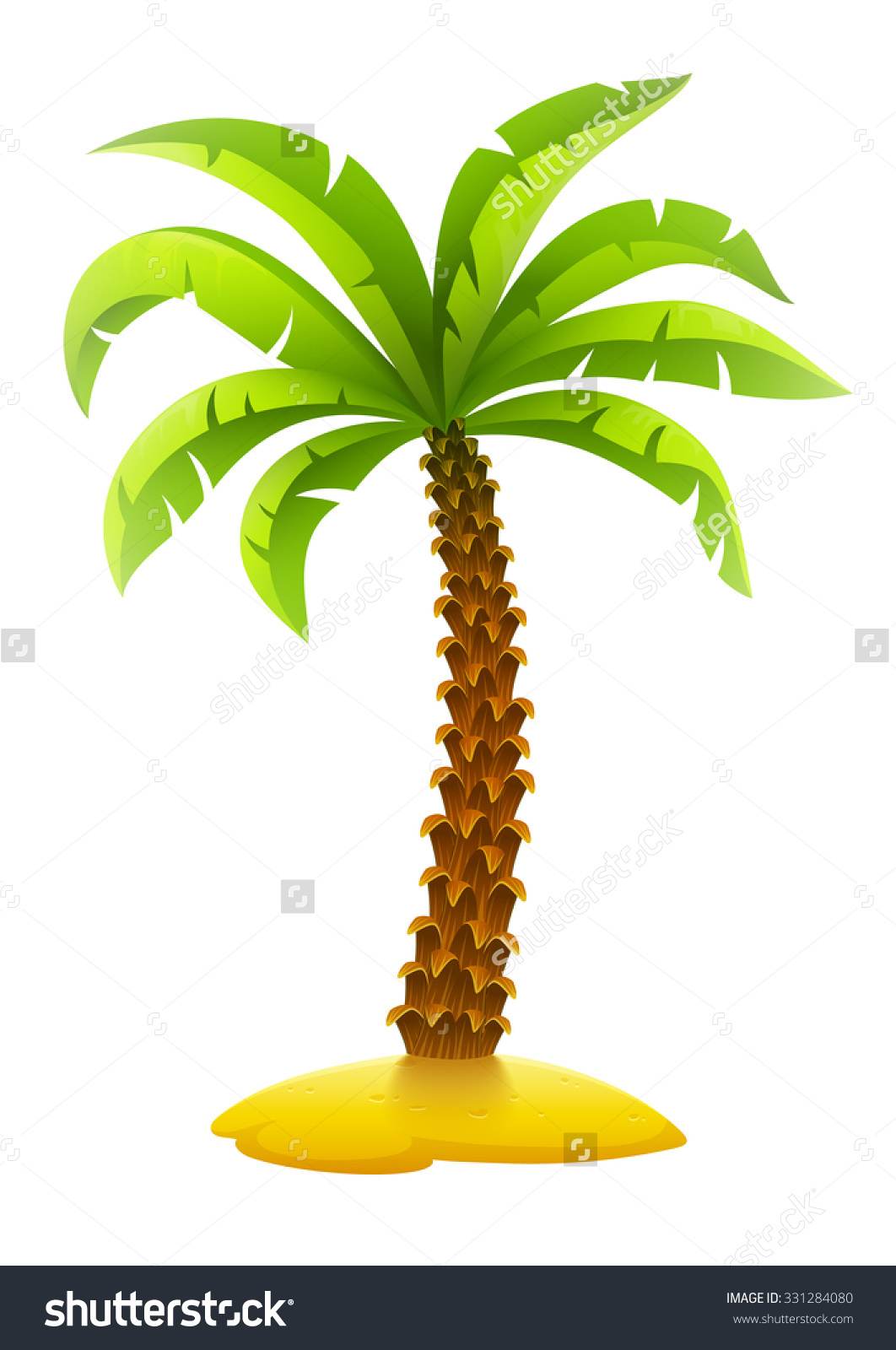Island clipart transparent background png vector freeuse library Coconut Palm Tree On Sand Island Stock Vector 331284080 - Shutterstock vector freeuse library