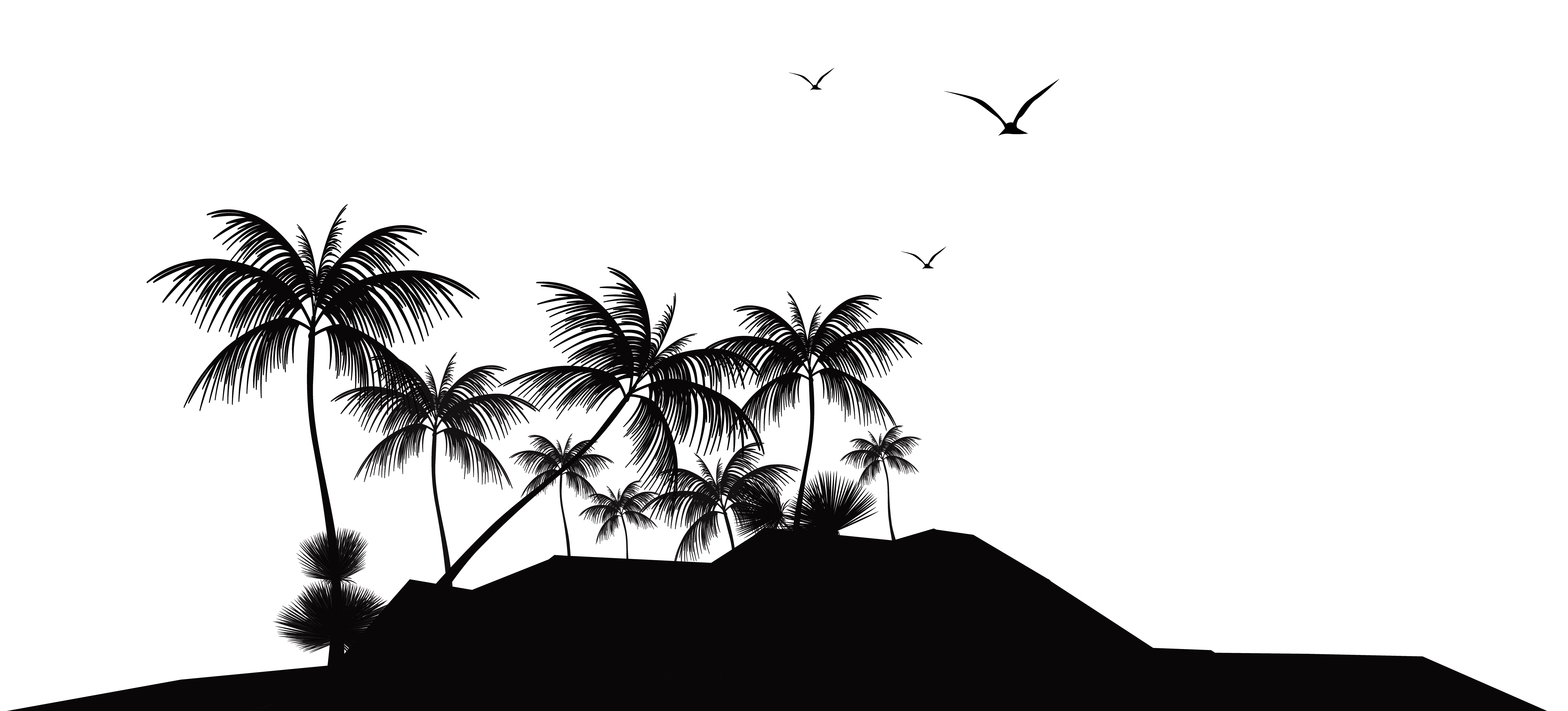 Tropical Island Silhouette PNG Clip Art - Best WEB Clipart clip black and white stock