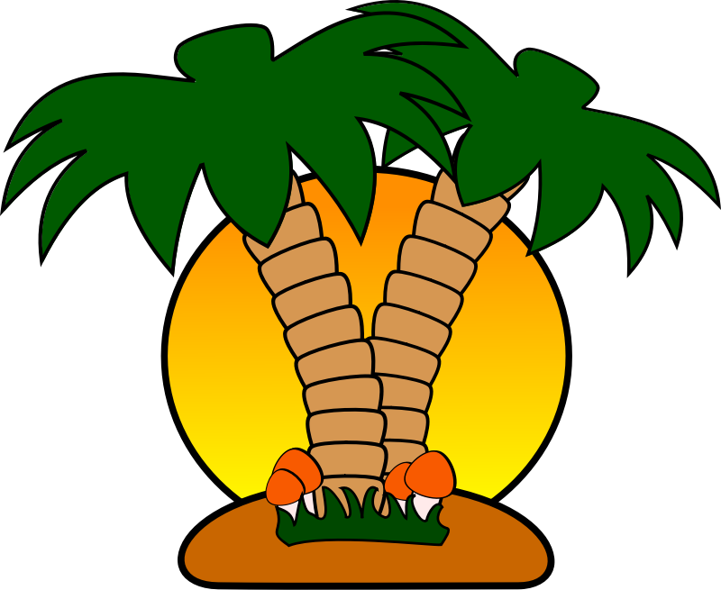 Island palm tree clipart png free Free Tropical Island with Palm Trees Clip Art | *** Art