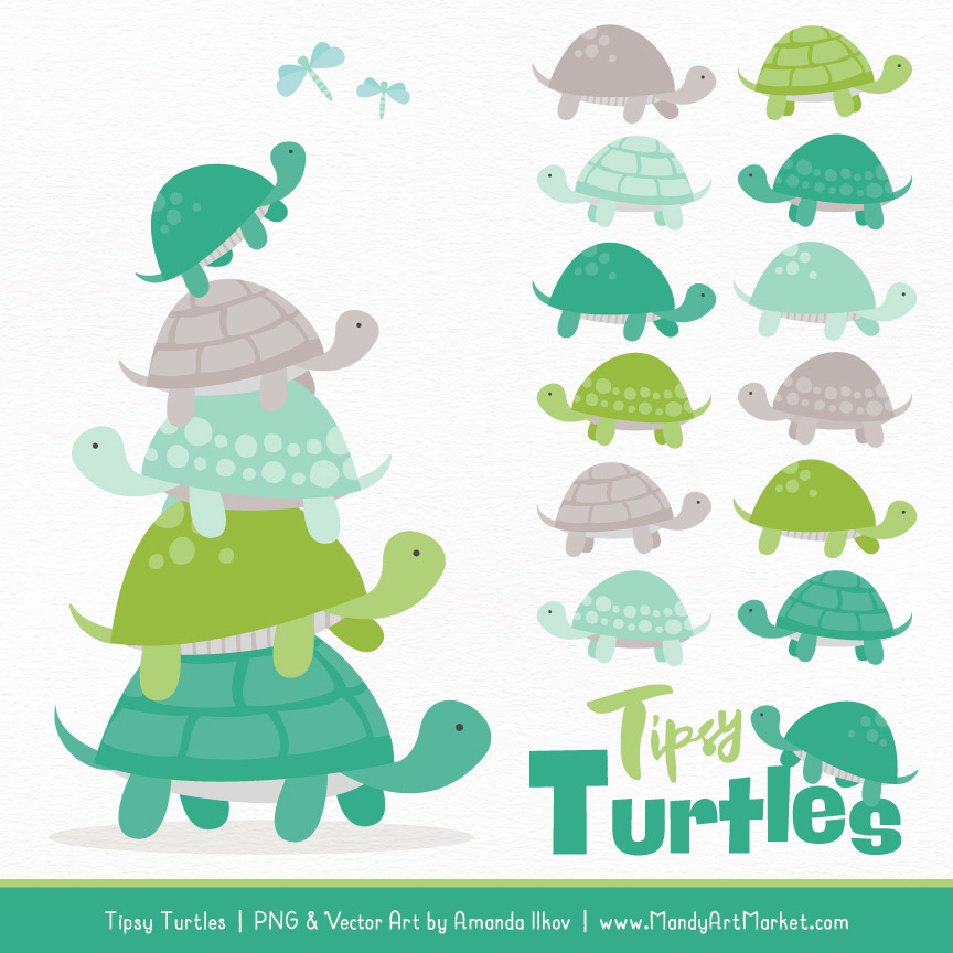 Isle clipart banner black and white Emerald Isle Turtle Stack Clipart Vectors banner black and white