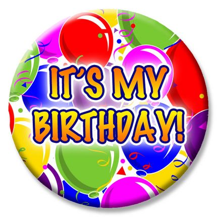 It s my birthday clipart clip Balloon Party Themed Button - It\'s My Birthday! clip