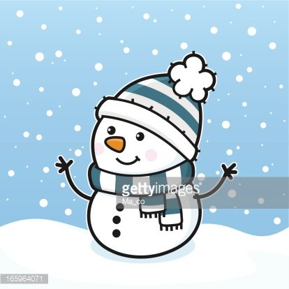 It s snowing clipart svg black and white stock it\'s Snowing\' / Happy Snowman With Scarf and Hat premium clipart ... svg black and white stock