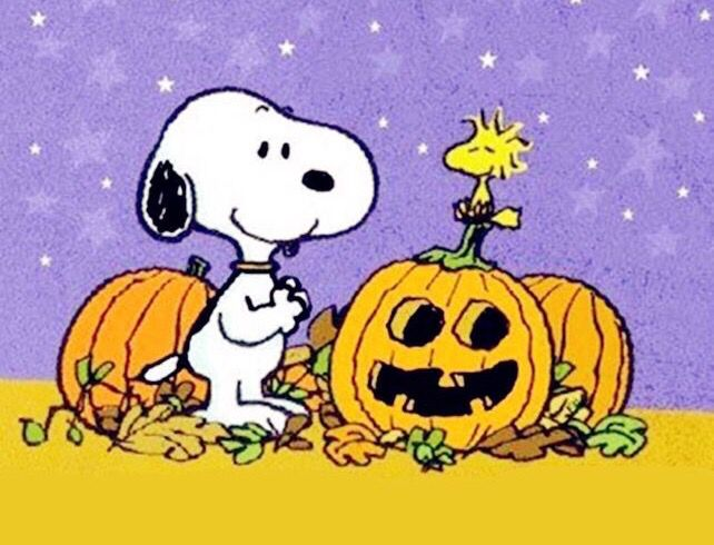 It s the great pumpkin charlie brown clipart image royalty free library Snoopy Standing Next to Woodstock Who\'s Standing on Top of a Jack-o ... image royalty free library