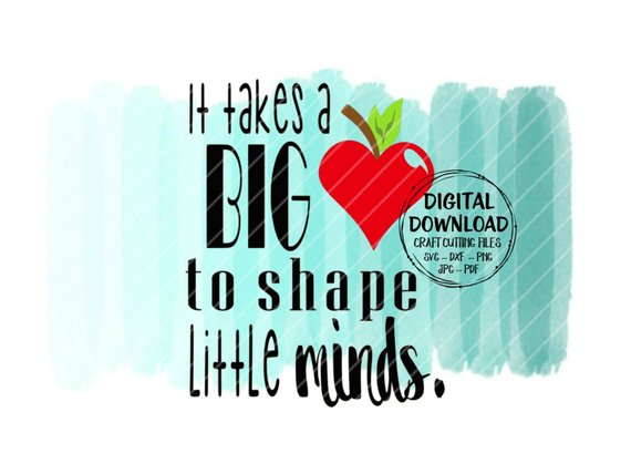 It takes a big heart to teach little minds clipart image library stock It Takes A Big Heart To Shape Little Minds SVG ~ Teacher SVG ~ Apple ... image library stock