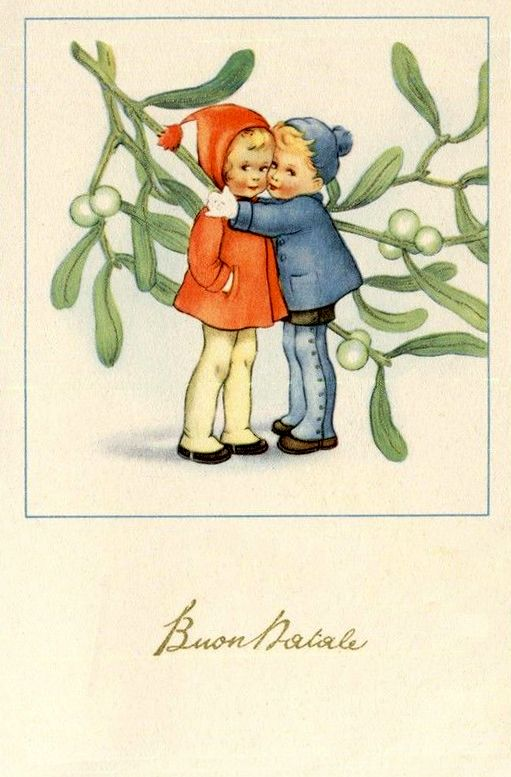 Italian christmas clipart clip freeuse library Vintage Italian Christmas Postcard Complete set of 6 postcards PC ... clip freeuse library