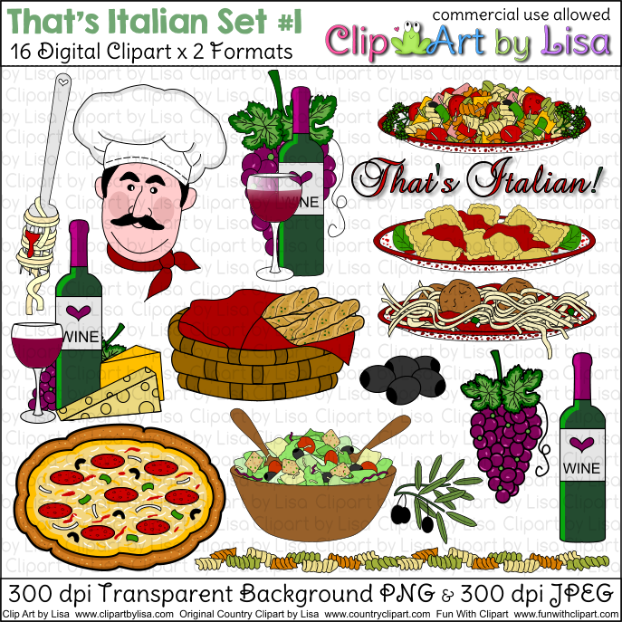 Italian food free clipart svg black and white download Italian Clip Art Food : Vector of Italian food collection 1 vector ... svg black and white download