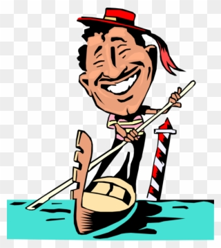 Italian guy clipart picture freeuse library Vector Illustration Of Venetian Gondola Gondolier In - Cartoon ... picture freeuse library
