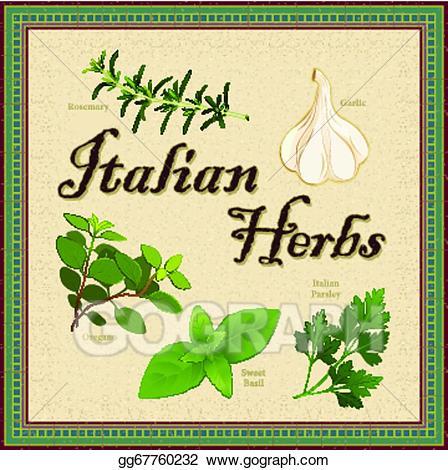 Italian seasoning clipart clipart library library EPS Illustration - Italian herbs, mosaic border. Vector Clipart ... clipart library library