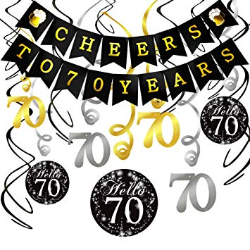 Its a family thang black and white clipart jpg transparent Howaf 70th Birthday Decorations Black and Gold, Cheers to 70 Years Birthday  Bunting Banner and 70th Birthday Hanging Swirl Decorations, 70th Birthday  ... jpg transparent