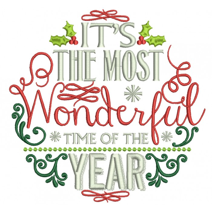 Its the most wonderful time of the year clipart svg freeuse library It\'s The Most Wonderful Time Of The Year Christmas Filled Machine  Embroidery Design Digitized Pattern svg freeuse library