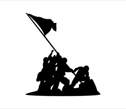 Iwo jima flag raising clipart vector black and white Amazon.com: IWO JIMA Flag Raising Vinyl Decal Car Window ... vector black and white