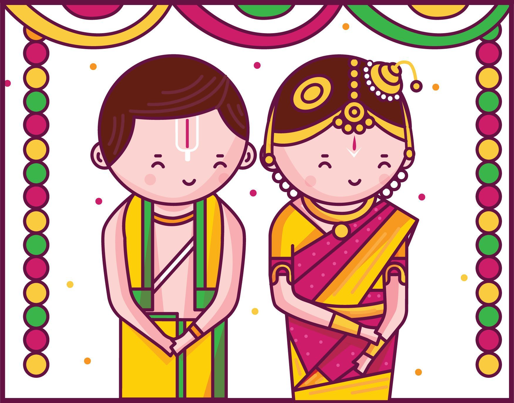 Iyengar traditional costume of tamil nadu clipart svg transparent stock Quirky Tamil Iyengar Wedding Invitation Illustration Design ... svg transparent stock