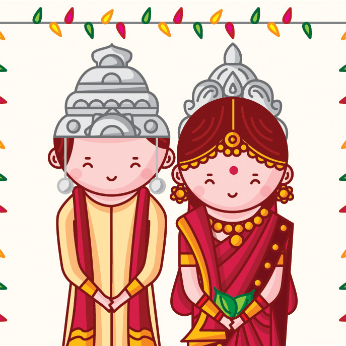 Iyengar traditional costume of tamil nadu clipart image transparent download SCD Balaji - Cute Indian Brides and Grooms\' Wedding ... image transparent download