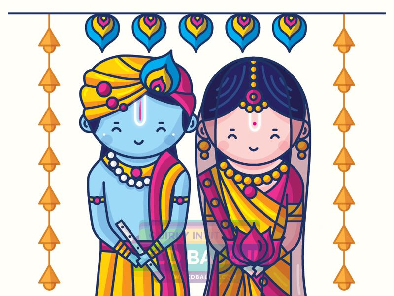 Iyengar traditional costume of tamil nadu clipart graphic freeuse Radha Krishna Wedding Invitation Design. Tamil Brahmin ... graphic freeuse