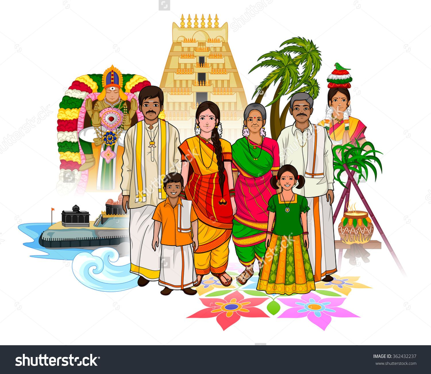 Iyengar traditional costume of tamil nadu clipart clip art black and white stock stock-vector-vector-design-of-tamil-family-showing-culture ... clip art black and white stock