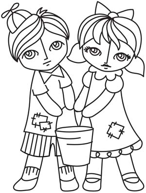 Jack and jill clipart black and white graphic download Jack And Jill Clipart Black And White graphic download