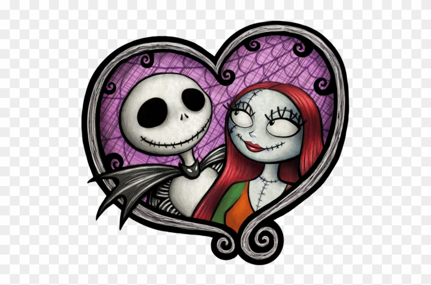 Jack and sally clipart picture black and white library Jack & Sally - Nightmare Before Christmas Simple Clipart ... picture black and white library