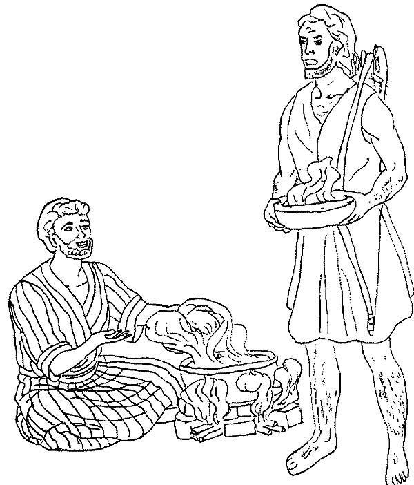 Jacob esau clipart vector stock File Name Esau Want A Bowl Of Stew In Jacob And Esau Coloring Page ... vector stock