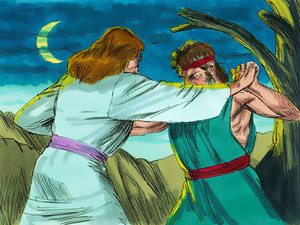 Jacob wrestles with god clipart graphic royalty free stock A Happy Reunion - A Bible Story about Jacob and Esau by Linda Sue ... graphic royalty free stock
